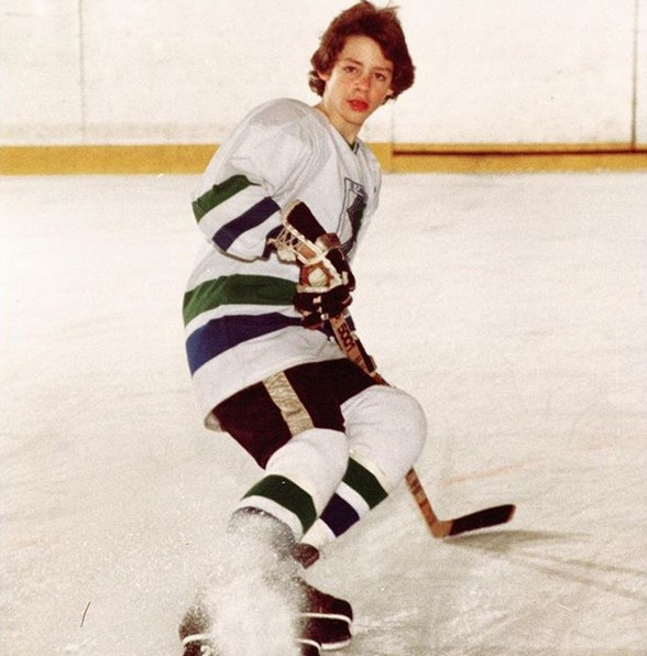 David playing hockey, age 13.